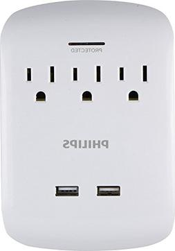 Philips 3-Outlet Surge Protector Wall Tap with 2 USB Ports,