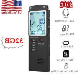 32GB Professional Mini Voice Recorder MP3 Player Digital Sou