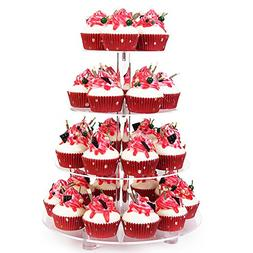 YestBuy 4 Tier Clear Wedding Party Acrylic Cupcake Display T