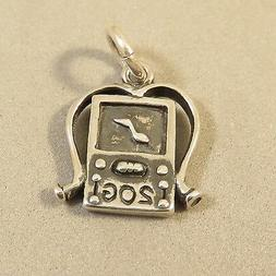 .925 Sterling Silver 3-D MP3 PLAYER CHARM Pendant NEW Music