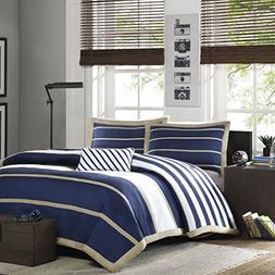 Mi Zone - Ashton - Comforter Set - Navy - Full/Queen - Strip