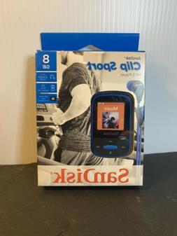 SanDisk Clip Sport 8GB MP3 Player, Blue With LCD Screen and