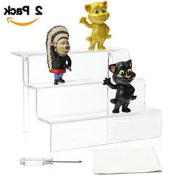 NIUBEE 2 Pack Acrylic Riser Display Shelf for Amiibo Funko P