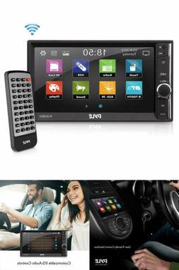 "Audio Radio Receiver Pyle Car Double Din Stereo 6.5"" TouchSc"