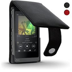 iGadgitz Black Leather Flip Case Cover for Sony Walkman NW-A