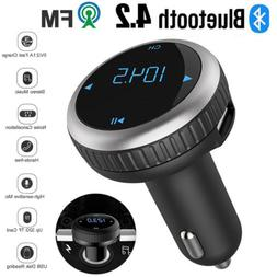 Bluetooth 4.2 Car FM Transmitter Wireless Radio Player SD Sl