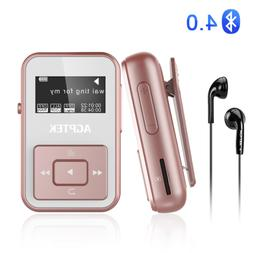 AGPTEK Bluetooth Mp3 Player with Clip &FM Slot up to 128GB f