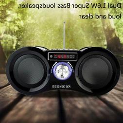 Portable FM Radio Stereo MP3 Player Boombox Bass Loudspeaker