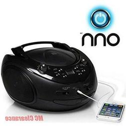 ONN CD/AM/FM Portable Boombox with Line-in Jack