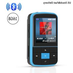 AGPTEK MP3 Player Bluetooth 4.0 16GB with Clip FM Radio Port