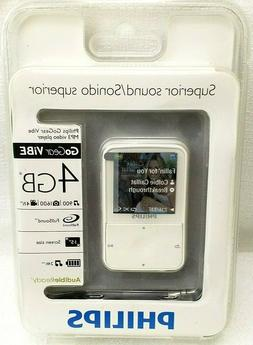 Philips GoGear Vibe MP3 Player Video Audible Ready White 4 G