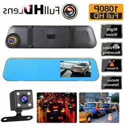 HD 1080P Dual Lens Car Auto DVR Mirror Dash Cam Recorder + R