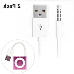 iPod Shuffle Cable, iAbler 2 Pack 3.5mm Jack/Plug to USB USB