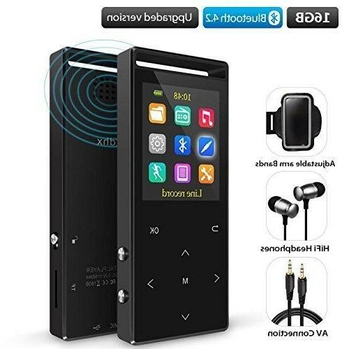 Grtdhx 16GB Bluetooth MP3 Player FM Radio/Voice Recorder Met
