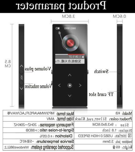 4-256GB Bluetooth MP3 MP4 Lossess Touch Player TF Card FM Radio