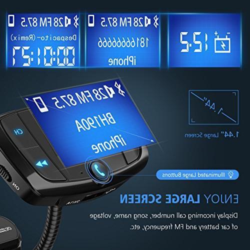VicTsing Bluetooth Transmitter, Car Transmitter Screen, Calls, USB via Bluetooth, and Card