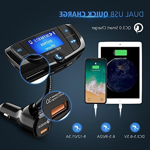 VicTsing QC3.0 Transmitter, Transmitter Adapter, Display Screen, Hands-Free Calls, Dual USB via U and TF Card