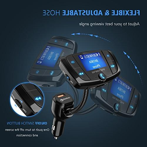 VicTsing Transmitter, Car Wireless Transmitter Adapter, USB Music via U and TF Card
