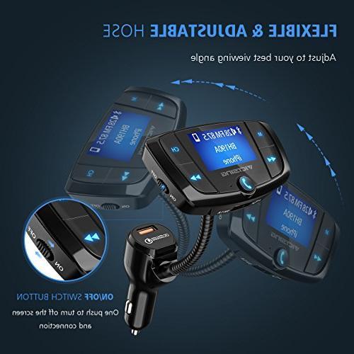 VicTsing Transmitter, Car Wireless Transmitter Adapter, USB Music via U and TF Card