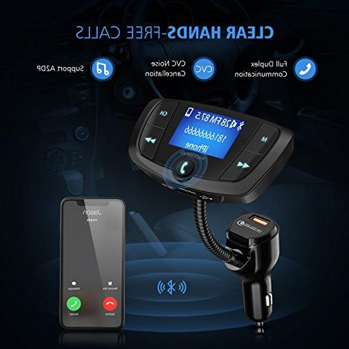 VicTsing Transmitter, Transmitter Adapter, Large Screen, Hands-Free Calls, Dual via Bluetooth, and TF Card