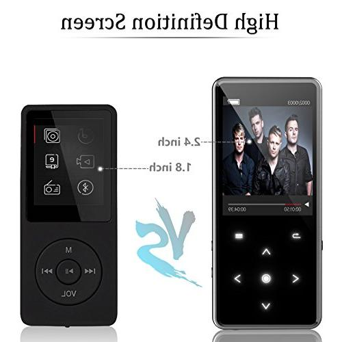 16G 4.0 MP3 Inch Screen Music with FM Recorder Lossless Player Buttons