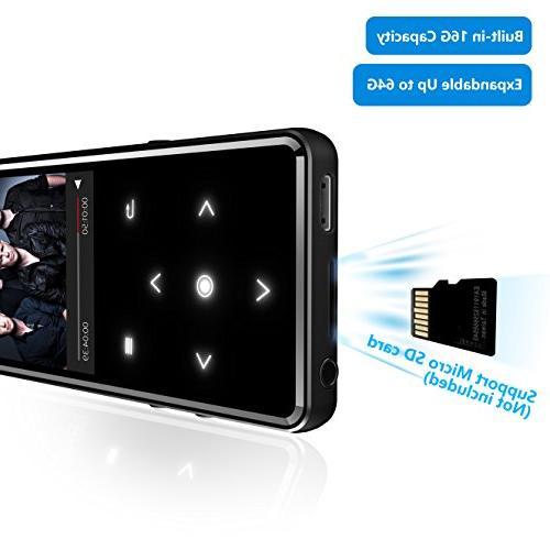 16G Bluetooth 4.0 MP3 Player,Valoin Slim 2.4 Inch Screen Music with FM Radio Recorder Music Player with Touch