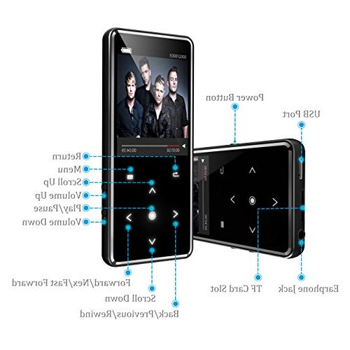 16G Player,Valoin Ultra Slim Inch Music with FM Recorder Music Player with Touch Buttons