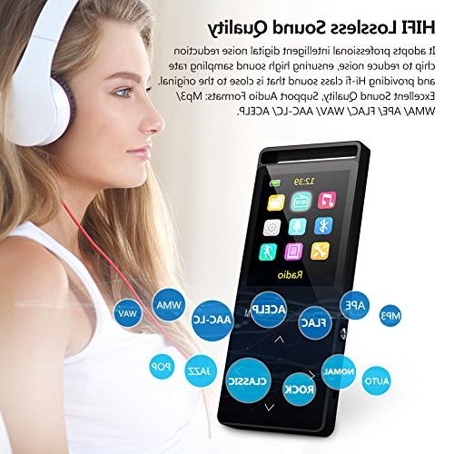 16GB Bluetooth with Radio/Voice 60 Sound,Metal Touch Button, Inch Color Screen, Sound an Armband, Black and Bluetooth