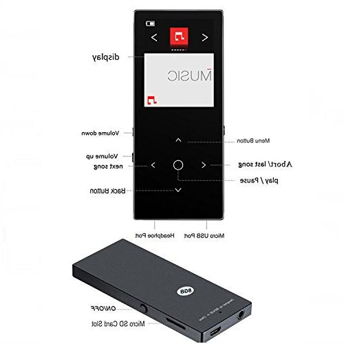 HONGYU Bluetooth mp3 Touch Button Ultra 8GB ,1.8 TFT Lossless with Radio Audio Player -Black