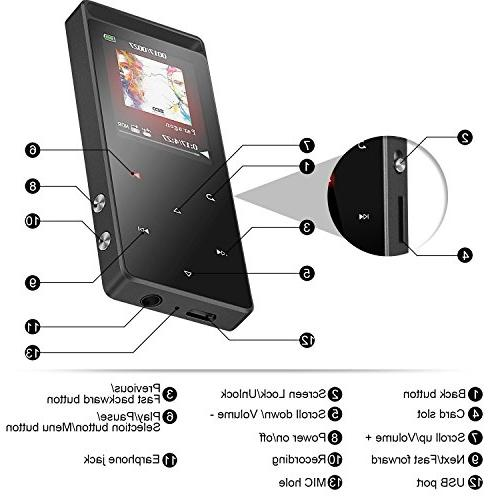 AGPTEK 8GB Bluetooth Player Touch Button FM/Voice Recorder, Sound Metal Music Independent Lock, 1.8 TFT Screen, ,A01T,Gray