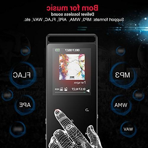 AGPTEK 8GB Player Touch FM/Voice Lossless Metal Music Player with Independent Lock, 1.8 Inch TFT