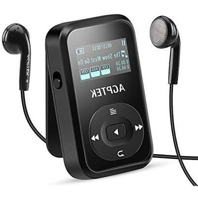Clip MP3 Player With Bluetooth 4.0,AGPTEK 8GB Lossless FM