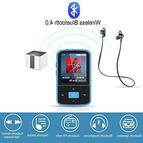 AGPTEK Player with Bluetooth Wearable Portable Music with Sweatproof and Expandable Up 128GB,