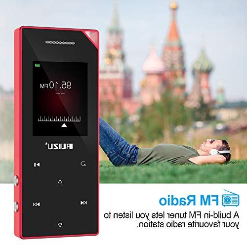 with Bluetooth, Music Player with FM Built-in Speaker, Button, Expandable Red