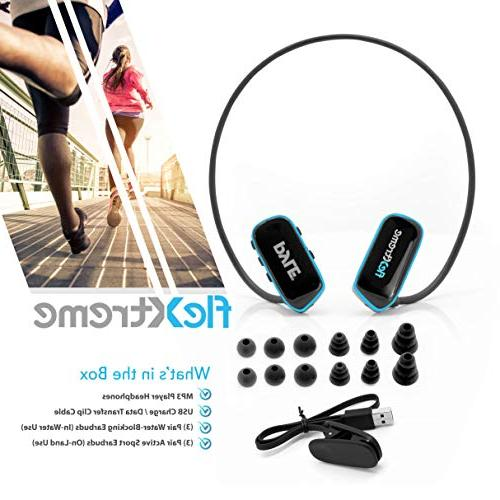 Pyle Waterproof Player - V2 Sports Player Swimming Jogging Gym Rechargeable Flexible Headphones - PSWP29BTBK