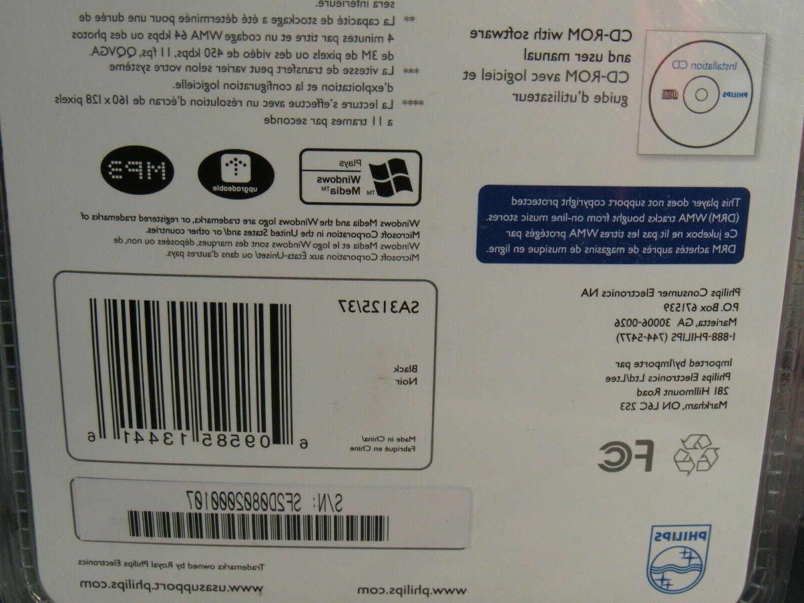 Philips 2GB MP3 WMA FM Radio Player SA3125 - New!