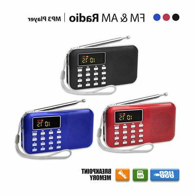 LCD Portable Digital FM Radio Speaker USB Micro SD TF Card M