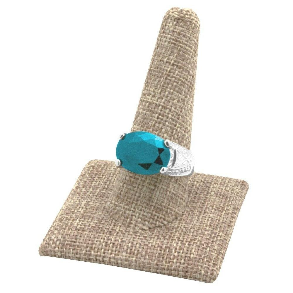 """MODERN BURLAP RING DISPLAY STAND JEWELRY RING HOLDER 2 3/8""""T"""
