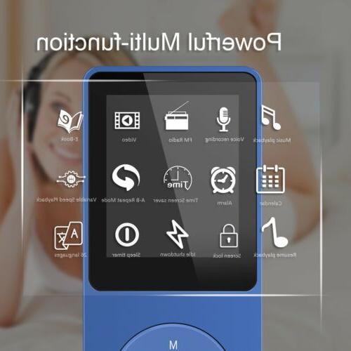 AGPTEK MP3 Music FM Radio 8GB Playback Dark Blue
