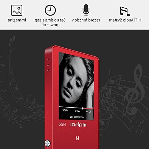 MYMAHDI MP3/MP4 Music Portable Audio Player Photo FM Radio, E-Book,Build-in Speaker with Headphone,Red