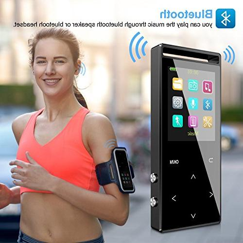 Bluetooth, 16GB Music Player Built-in Radio/Voice Recorder/Text Reading/Pedometer,with Armband for Sport