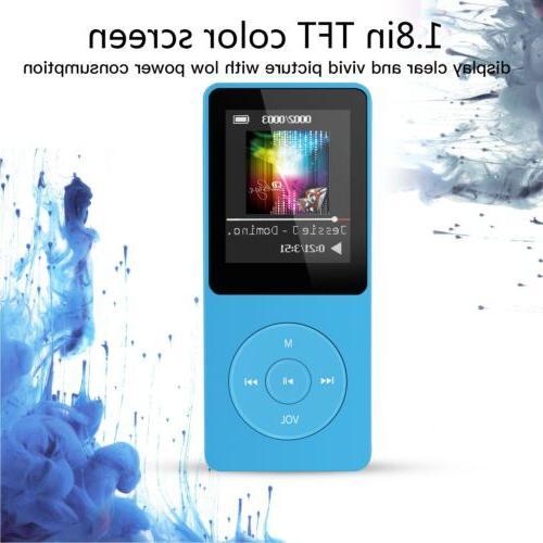 AGPTEK MP3 Player 8GB 70 Hours Playback Lossless Radio Blue