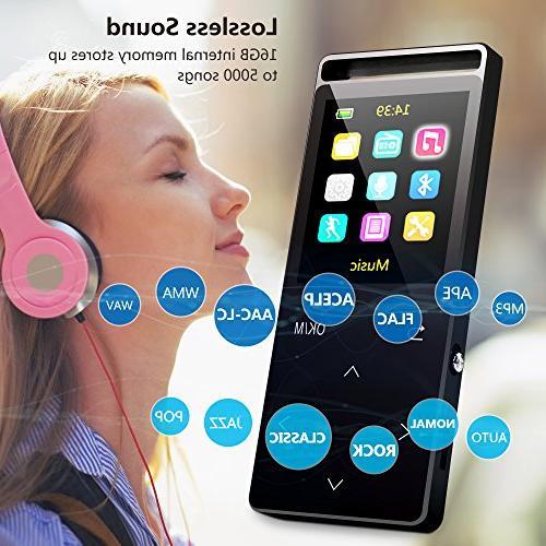 MP3 with ,16GB Music FM Radio/ Lossless Sound Quality ,Metal, Alarm Clock, HD Sound Quality Earphone , 2018 model,