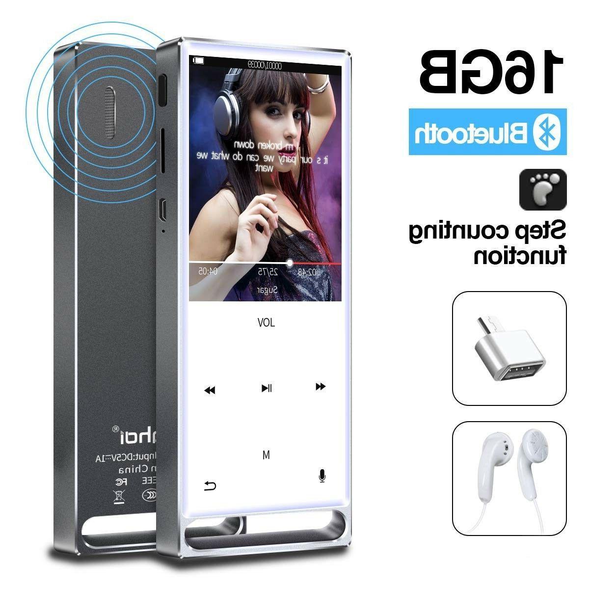 MYMAHDI MP3 Player, Bluetooth 16GB Lossless,FM Radio/Records