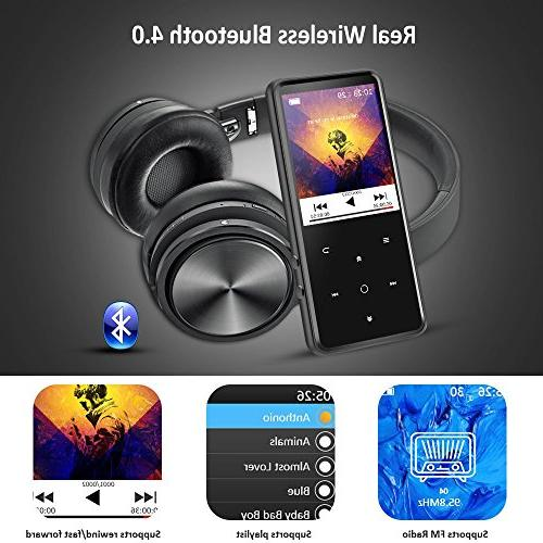 AGPTEK 16GB MP3 Bluetooth 4.0 Inch Color Screen, FM/Voice Recorder Sound Metal Music Player, button Backlight Up to