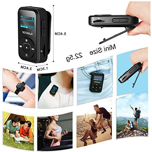 MP3 Player KLANTOP Digital Player Radio Voice Design for Sport Music