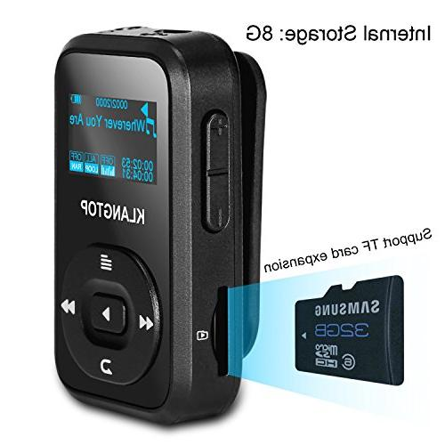 MP3 Player Bluetooth 8GB KLANTOP Music Player with FM Voice Special Design Music