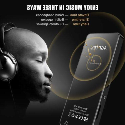 AGPTEK MP3 Bluetooth 16GB Music Player FM Radio Recorder