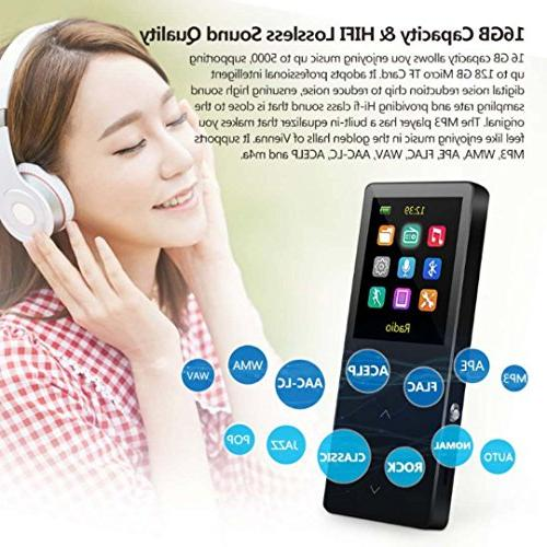 MP3 Player 16GB music with FM radio/recorder, metal, screen, Alarm sound quality headphones, armbands, black