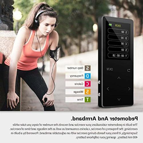 MP3 Bluetooth, 16GB music FM metal, color screen, Alarm sound quality with black